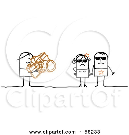 Royalty-Free (RF) Clipart Illustration of a Stick People Character Photographer Snapping Pictures Of Celebrities by NL shop