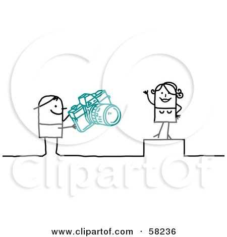 Royalty-Free (RF) Clipart Illustration of a Stick People Character Photographer Taking Pictures Of A Model by NL shop