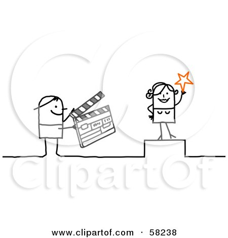 Royalty-Free (RF) Clipart Illustration of a Stick People Character Actress And A Person Using A Clapperboard by NL shop