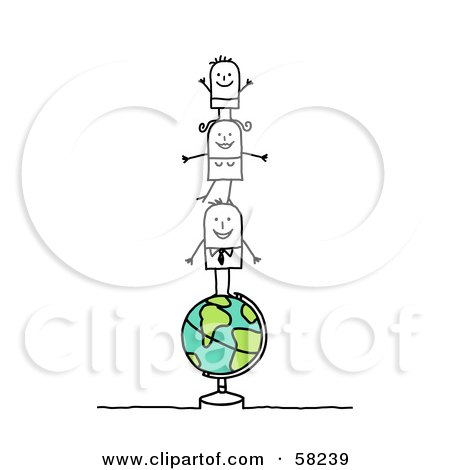 Royalty-Free (RF) Clipart Illustration of a Stick People Character Family Of Three Standing On Top Of A Globe by NL shop