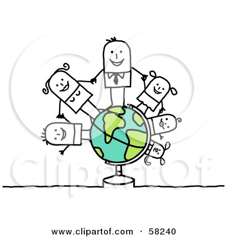 Royalty-Free (RF) Clipart Illustration of a Stick People Character Family Holding Hands On A Globe by NL shop