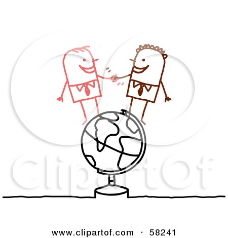 Royalty-Free (RF) Clipart Illustration of a Stick People Character Businessmen Shaking Hands On A Globe by NL shop