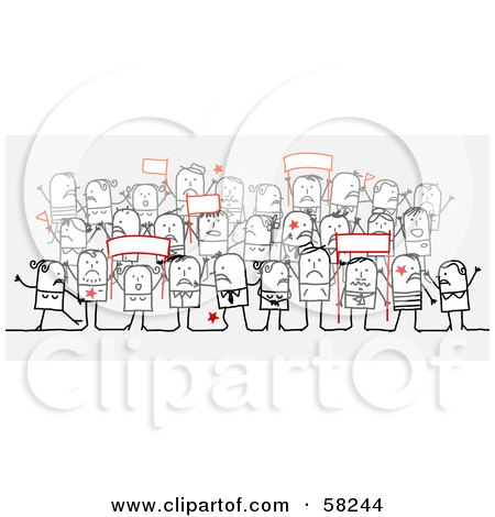 Royalty-Free (RF) Clipart Illustration of a Stick People Character Crowd Holding Up Protesting Signs by NL shop