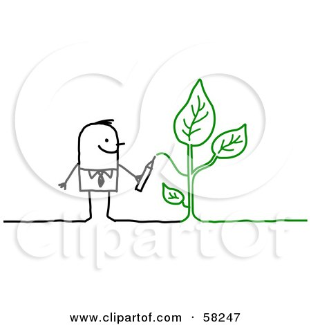 Royalty-Free (RF) Clipart Illustration of a Stick People Character Drawing A Green Plant by NL shop