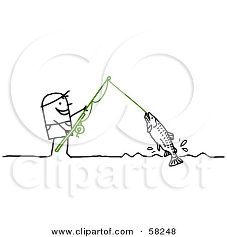 Royalty-Free (RF) Clipart Illustration of a Stick People Character Reeling In A Fish On A Line by NL shop