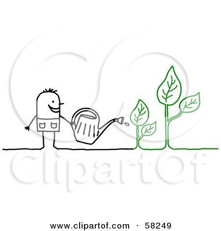 Royalty-Free (RF) Clipart Illustration of a Stick People Character Watering Plants by NL shop
