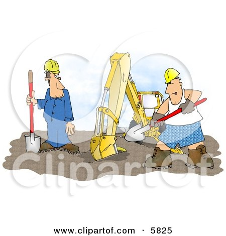 Funny Construction Worker Man Wearing Boxer Shorts While Working Beside an Excavator Clipart Illustration by djart