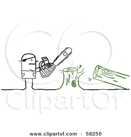 Royalty-Free (RF) Clipart Illustration of a Stick People Character Using A Saw To Cut Down A Tree by NL shop