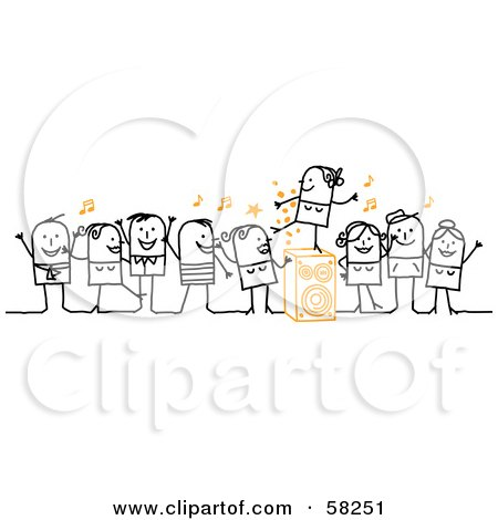 Royalty-Free (RF) Clipart Illustration of a Stick People Character Dance Party by NL shop