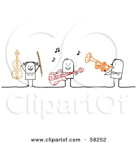Royalty-Free (RF) Clipart Illustration of a Stick People Character Band Playing The Violin, Guitar And Trumpet by NL shop