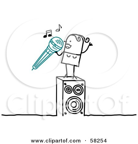 Royalty-Free (RF) Clipart Illustration of a Stick People Character Woman Singing Karaoke by NL shop