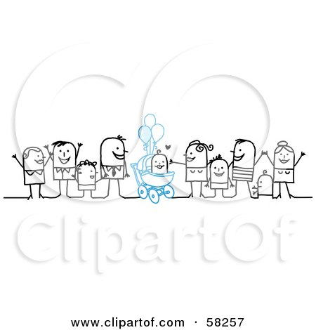 Royalty-Free (RF) Clipart Illustration of a Stick People Character Family Celebrating The Birth Of A Boy by NL shop