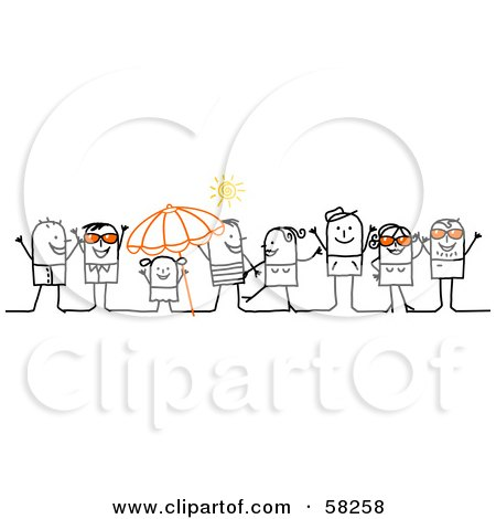 Royalty-Free (RF) Clipart Illustration of a Stick People Character Crowd Wearing Sunglasses And Hanging Out On A Beach by NL shop