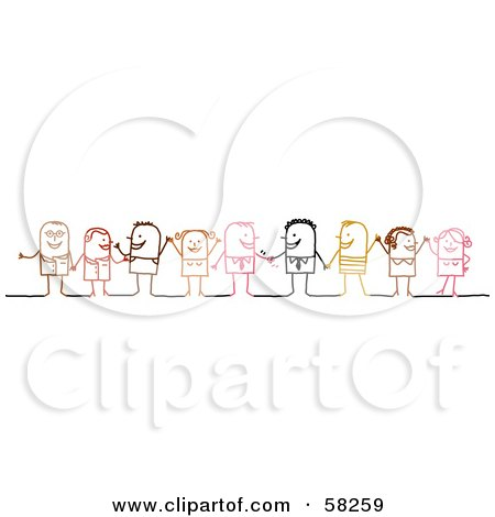 Royalty-Free (RF) Clipart Illustration of a Stick People Character Diverse Business Team Standing by NL shop
