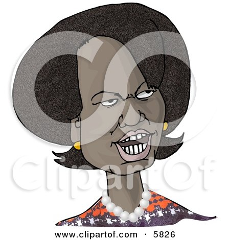 66th United States Secretary of State, Condoleezza Rice, Caricature Clipart Illustration by djart