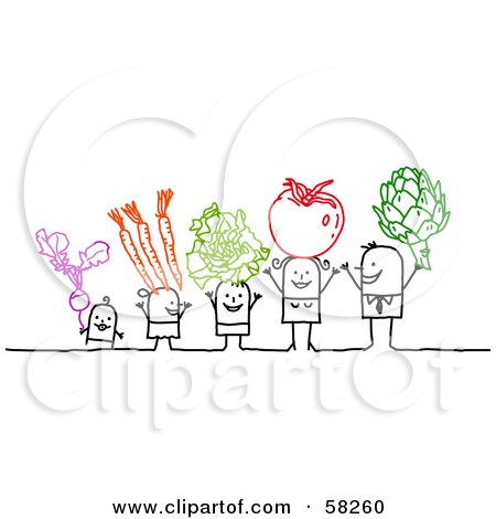 Royalty-Free (RF) Clipart Illustration of a Stick People Character Family Holding Up Veggies by NL shop