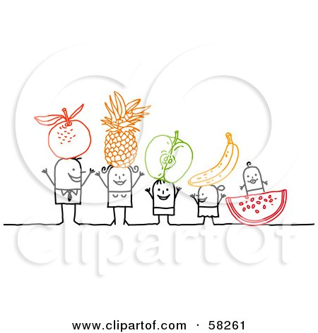 Stick People Character Family With Fruit On Their Heads Posters, Art Prints