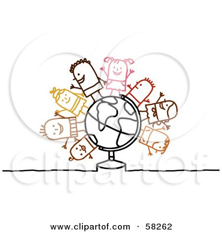 Royalty-Free (RF) Clipart Illustration of Stick People Character Children Standing On A Globe by NL shop