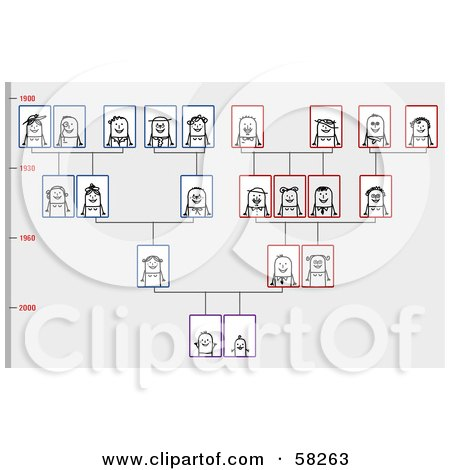 Royalty-Free (RF) Clipart Illustration of a Stick People Character Family Tree by NL shop