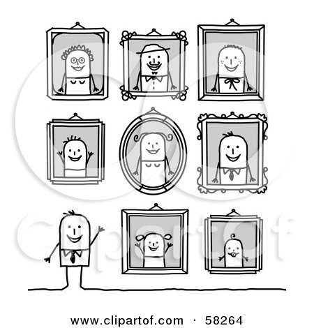 Royalty-Free (RF) Clipart Illustration of a Stick People Character Man Standing Under Family Portraits by NL shop