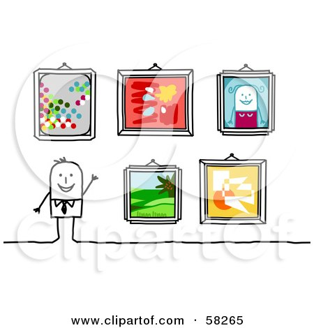 Royalty-Free (RF) Clipart Illustration of a Stick People Character Displaying Their Art Work In Frames by NL shop