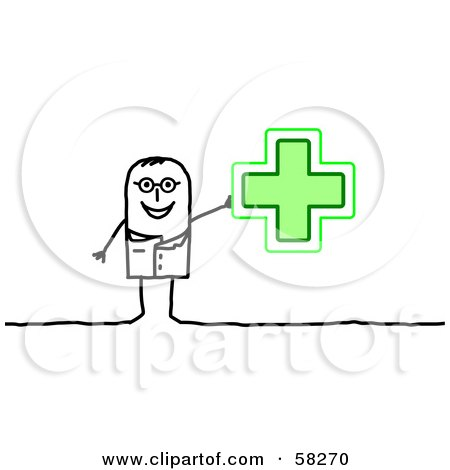 Royalty-Free (RF) Clipart Illustration of a Stick People Character Pharmacist Holding Up A Green Cross by NL shop