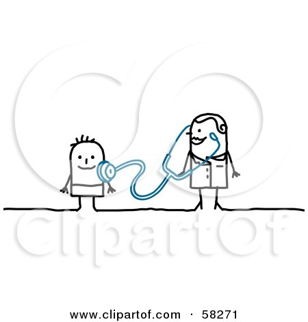 Royalty-Free (RF) Clipart Illustration of a Stick People Character Doctor Examining A Child by NL shop