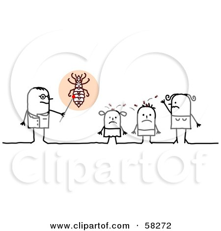 Royalty-Free (RF) Clipart Illustration of a Stick People Character Doctor Speaking To Lice Covered Children by NL shop