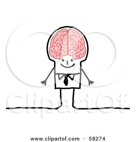Royalty-Free (RF) Clipart Illustration of a Stick People Character Genius Man With A Big Brain by NL shop