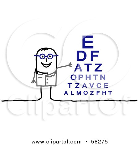 Stick People Character Optometrist Standing By An Eye Chart Posters, Art Prints