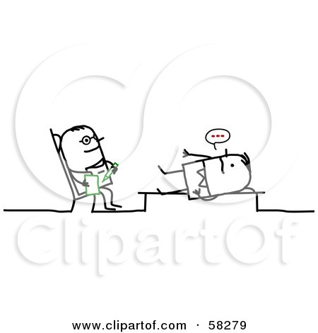 Royalty-Free (RF) Clipart Illustration of a Stick People Character Counselor Listening To A Patient by NL shop