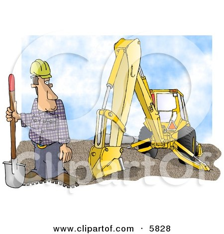 Construction Worker Standing Beside an Excavator with a Shovel Posters, Art Prints