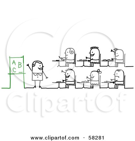 Royalty-Free (RF) Clipart Illustration of a Stick People Character Teacher And Students Learning The Alphabet by NL shop