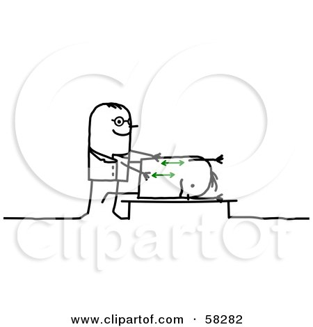 Royalty-Free (RF) Clipart Illustration of a Stick People Character Chiropractor Massaging A Client by NL shop