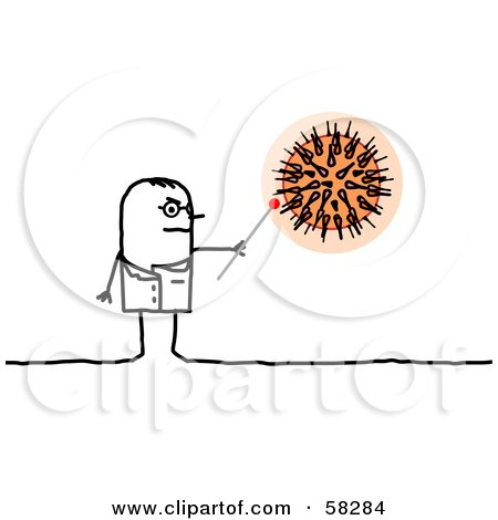 Royalty-Free (RF) Clipart Illustration of a Stick People Character Microbiologist Looking At Bacteria by NL shop