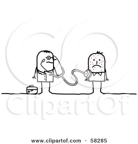 Royalty-Free (RF) Clipart Illustration of a Stick People Character Doctor Inspecting A Sick Patient With A Stethoscope by NL shop