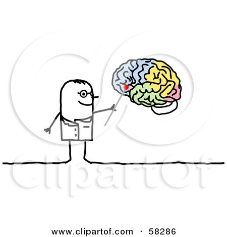 Royalty-Free (RF) Clipart Illustration of a Stick People Character Neurologist Pointing To A Brain by NL shop
