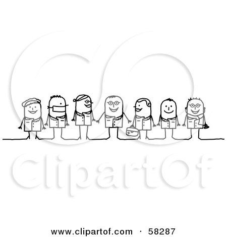 Royalty-Free (RF) Clipart Illustration of Stick People Character Nurses, Doctors And Surgeons by NL shop
