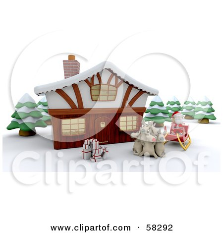Royalty-Free (RF) Clipart Illustration of a Santa And His Reindeer With Gifts, Resting In Front Of A 3d Winter Lodge by KJ Pargeter