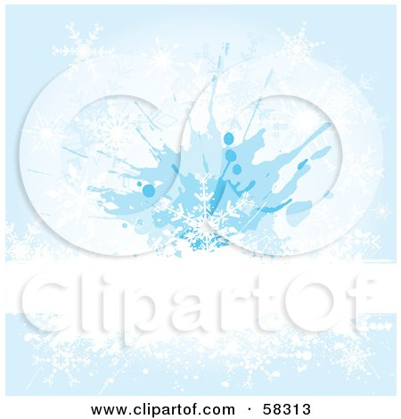 Royalty-Free (RF) Clipart Illustration of a White Bar Spanning A Blue Snowflake Grunge Background by KJ Pargeter