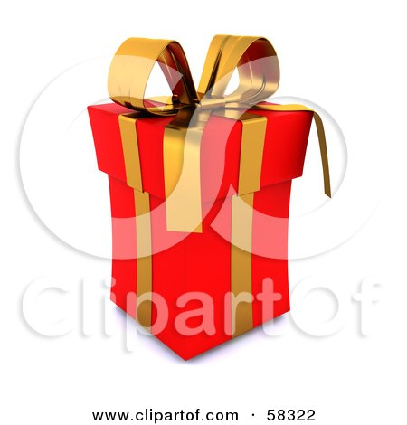 Royalty-Free (RF) Clipart Illustration of a Tall 3d Red Christmas Gift Box Adorned With A Gold Ribbon And Bow by KJ Pargeter