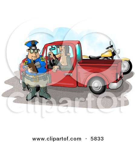Pulled Over Man in a Truck Watching a Cop Writing a Speeding Ticket Posters, Art Prints