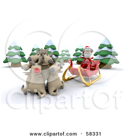 Royalty-Free (RF) Clipart Illustration of a 3d Santa Sitting In His Sleigh And Letting His Reindeer Rest by KJ Pargeter