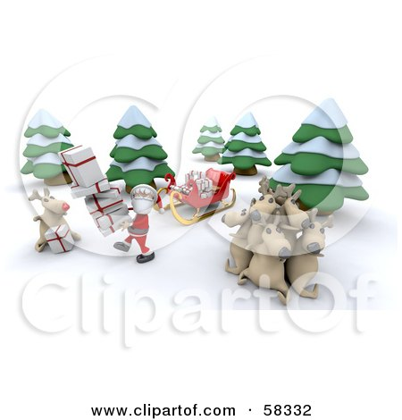 Royalty-Free (RF) Clipart Illustration of a 3d Santa And Rudolph Delivering Gifts While Other Reindeer Rest by KJ Pargeter
