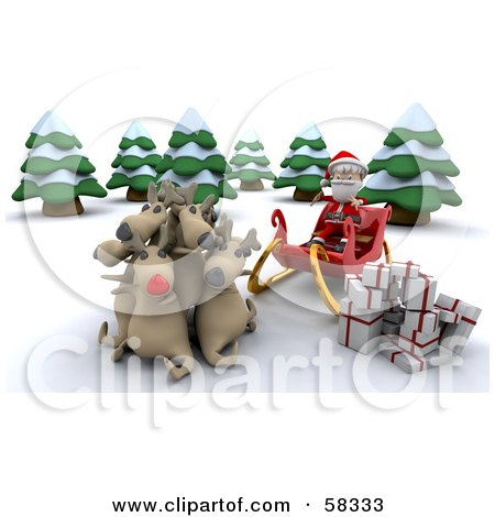 Royalty-Free (RF) Clipart Illustration of a 3d Santa Sitting In His Sleigh, His Reindeer Cuddling As He Unloads Gifts by KJ Pargeter