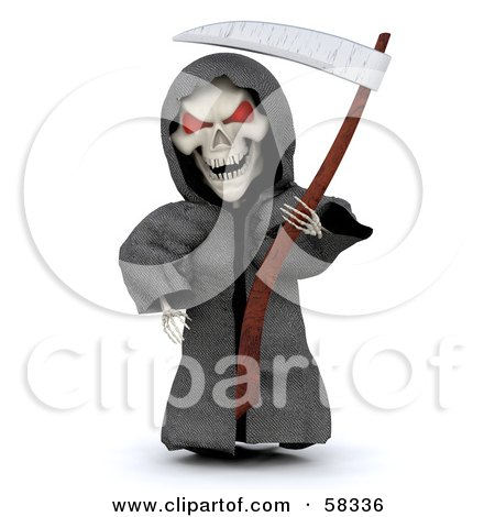 Royalty-Free (RF) Clipart Illustration of a 3d Evil Skeleton White Character With Red Eyes, Wearing A Grim Reaper Halloween Costume by KJ Pargeter