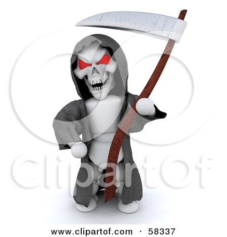 Royalty-Free (RF) Clipart Illustration of a 3d Evil White Character With Red Eyes, Wearing A Grim Reaper Halloween Costume by KJ Pargeter