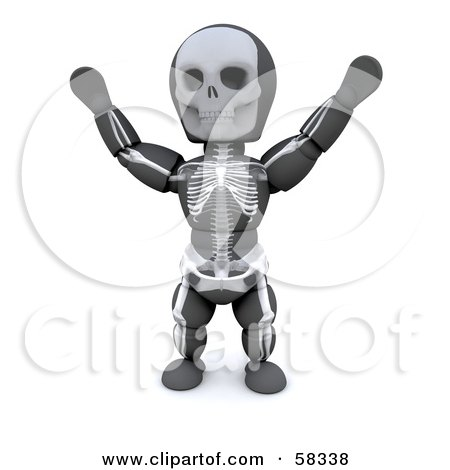 Royalty-Free (RF) Clipart Illustration of a 3d White Character Wearing A Skeleton Halloween Costume by KJ Pargeter