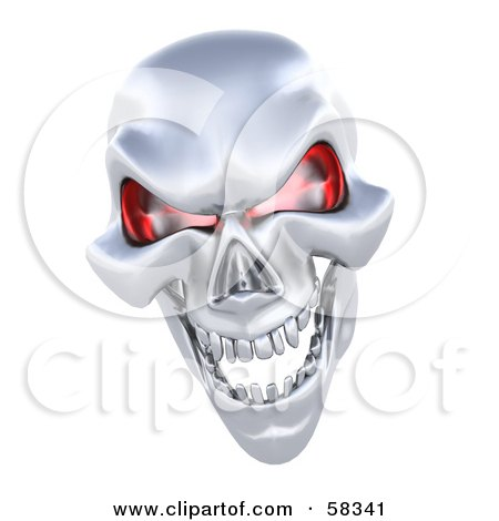 3d Silver Human Skeleton Head With Glowing Red Eye Sockets Posters, Art Prints