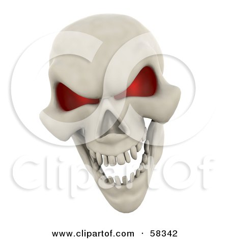 Royalty-Free (RF) Clipart Illustration of a 3d Human Skeleton Head With Glowing Red Eye Sockets by KJ Pargeter